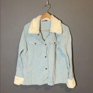SHEIN corduroy fluff trim pullover